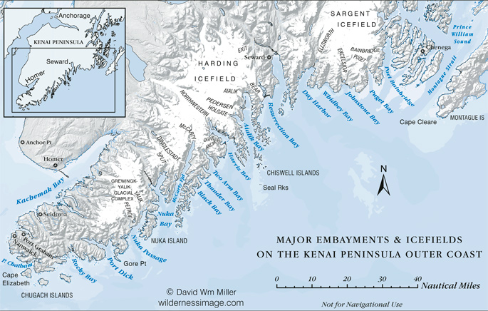 Kenai Fjords Major Embayments and Icefields
